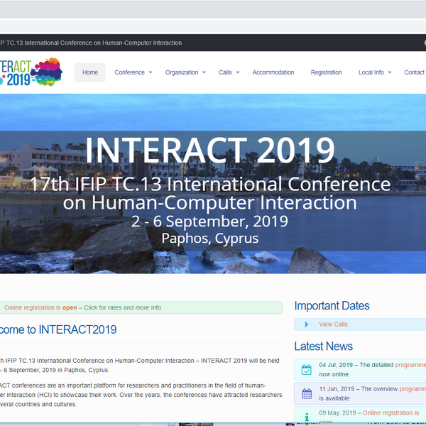 Screenshot der INTERACT Website